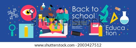 back to school and education. Vector illustration of schoolchildren and students in college and university with books, pencils, microscope and school objects. Drawings for poster, background or flyer