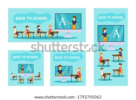 Back to school and online education concept. Kids in face masks sitting at a large monitor. Teacher on screen is teaching a lesson. Set of vector banners in vertical, horizontal and square formats.