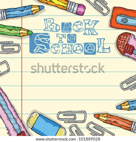 back to school and school supplies on paper