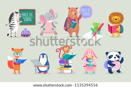Back to school Animals hand drawn style, education theme. Cute characters. Bear, penguin, elephant, panda, fox and others. Vector illustration.