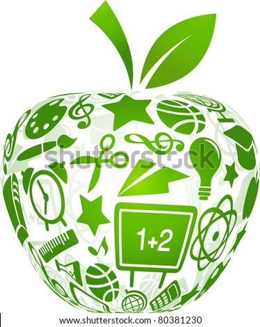 back to school - apple with education icons
