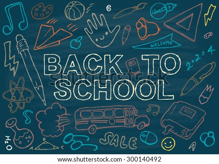 Back to school background design template, big set of school theme icons, hand drawn vector illustration. - stock vector