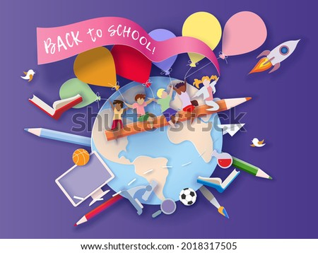 Back to school background . Paper cut cartoon kids and education supplies set in trendy paper cut craft style. Modern origami teaching and learning design. Vector illustration.