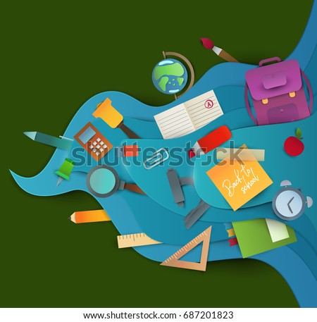 Back to school background. Paper cut cartoon polygonal trendy craft style. Modern origami teaching, education and learning symbol design. Concept for poster, banner. Vector illustration.