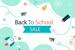 Back to school background. Welcome kids template. Education banner, poster design. Student art. Study day concept. School, preschool supplies items. Discounts on september 1st. Vector illustration.
