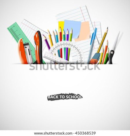 Back to school background with blackboard and school supplies.Stationery equipment. Office and school supplies. Vector realistic illustration