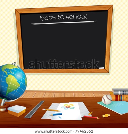 Back to School Background with Classroom Desk, Chalkboard and Education Symbols