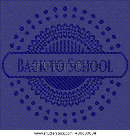 Back to School badge with denim background