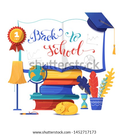 Back to school banner flat vector template. Open notebook illustration with calligraphy. Cartoon textbooks stack and sleeping cat isolated clipart. Education and knowledge poster design