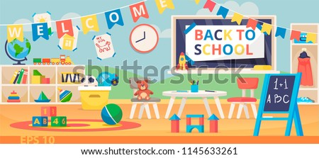 Back to school banner illustration. First School Day, Knowledge Day, September 1. Preschool classroom with desk, chairs and toys. Kindergarten education interior.  Learning and study place.
