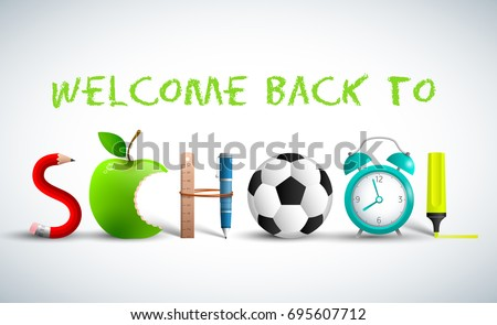 Back to school banner on white background in green color headline and with school accessories vector illustration