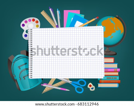 Back to school banner, poster design with empty squared notebook page and student items on the background, cartoon vector illustration. Back to school banner with empty notebook page and student items