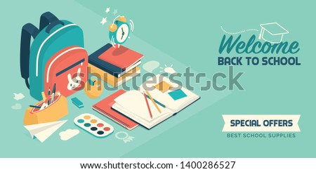 Back to school banner with isometric educational supplies and school items: creativity, education and childhood concept