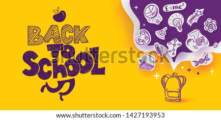 Back to School banner with line art icons of education, science objects on paper art cut out icons. Vector hand drawn doodle style illustration. hand lettering symbol of education with ink drawn legs