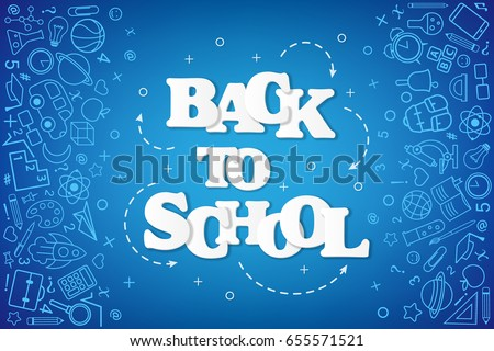 Back to School banner with texture from line art icons of education, science objects and office supplies on the blue background.