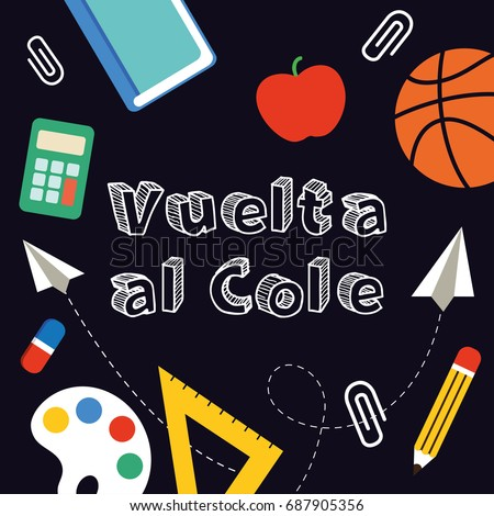 Back to School banner written in Spanish, vector illustration. Foto stock ©