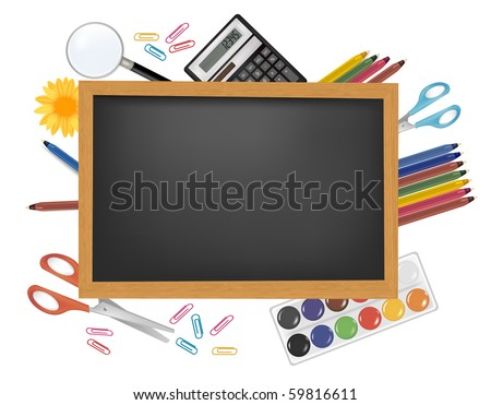 Back to school. Black desk with supplies. Vector.