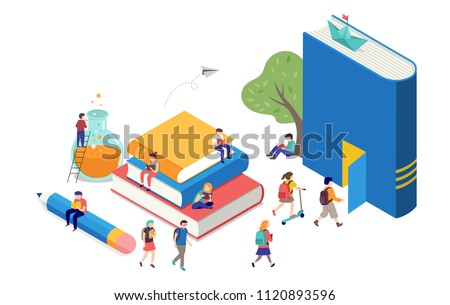 Back to school, books, education and research concept. College and university scene with children, students