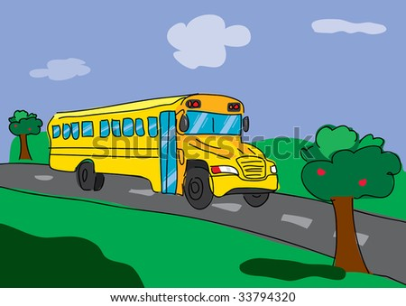 back to school bus illustration