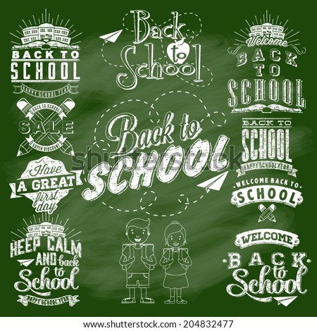 Back to School Calligraphic Designs Label Set On Chalkboard | Retro Style Elements | Vintage Ornaments | Sale, Clearance | Vector