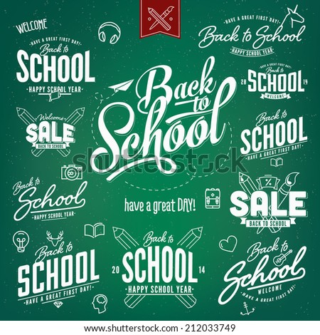 Back to School Calligraphic Designs Retro Style Super Sale Clearance Vector Set