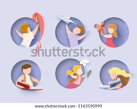 Back to school card. Children in round hole, boy, girl, books. Vector illustration. Paper cut and craft style.