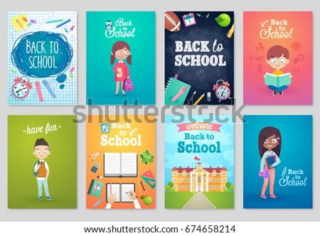 Back to School card set, school kids, chalkboards, equipment. Vector illustration.