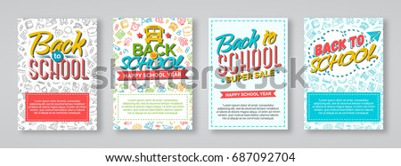 Back to school card set with color labels consisting of school backpack, pen, pencil, bus and sign welcome and happy school year on different background. Vector illustration.