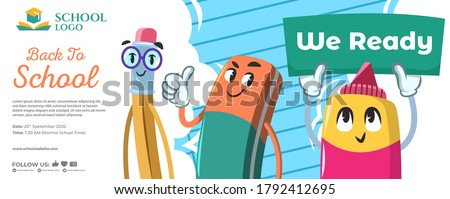 Back to school carton characters-showing we are ready banner-cartoon concept-pink-green-blue-white-orange-colorful artwork Foto stock ©