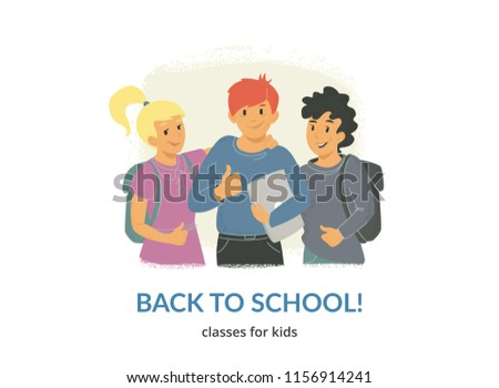 492ceef84b9 Back to school classes for creative kids. Flat vector illustration for  website and landing page
