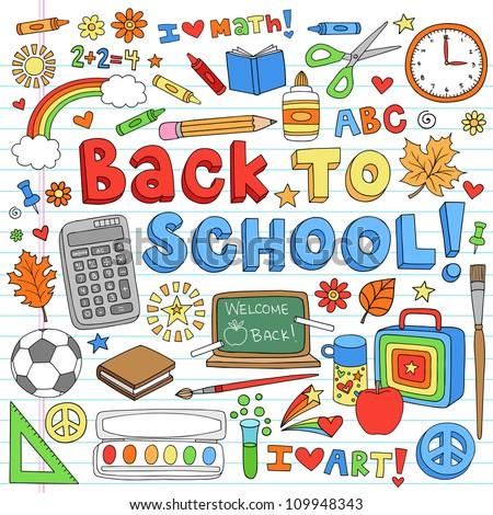 Back to School Classroom Supplies Notebook Doodles Hand-Drawn Illustration Design Elements on Lined Sketchbook Paper Background