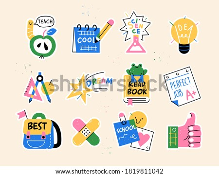 Back to school collection of badges for students with school supplies. Vector illustration