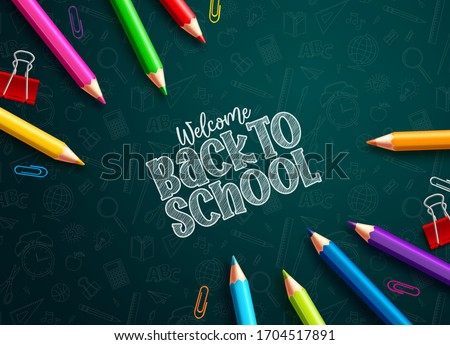Back to school colored pencils vector design. Back to school text and colorful colored pencils and paper clips in green educational pattern background. Vector illustration.