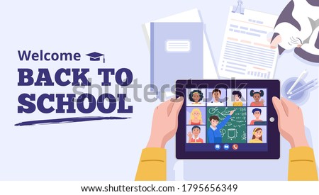 Back to school concept. A boy learning with computer at home. Vector