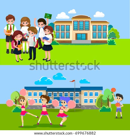 Back to school concept for banner, Children stand near building and happy at beginning of the education year, students with backpacks and in uniform entered college vector illustration