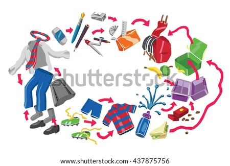 Back to School Concept: School Kit, Uniform, Bags, Stationery and Lunch All Joined by Arrows. White Background. #437875756