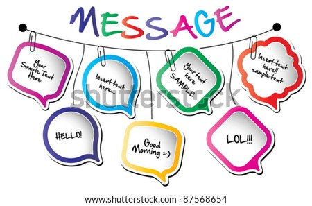 Back to school concept-wall hanging message bubbles - stock vector