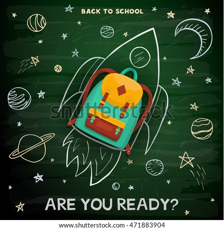 Back to school creative background. School backpack on rocket.