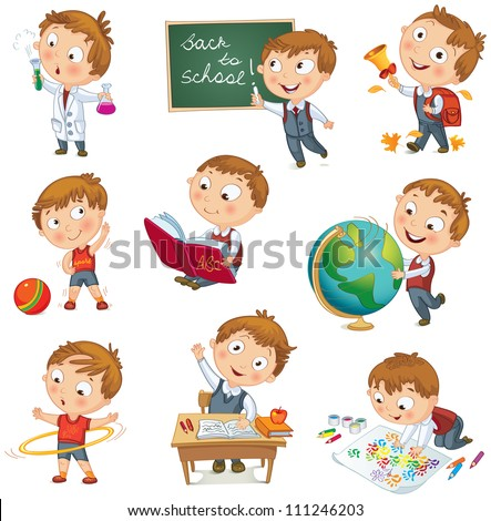 Back to school Cute schoolchild at a lesson of geography literature physical education biology botany chemistry drawing Young boy raising his hand in school Wrote in chalk on blackboard