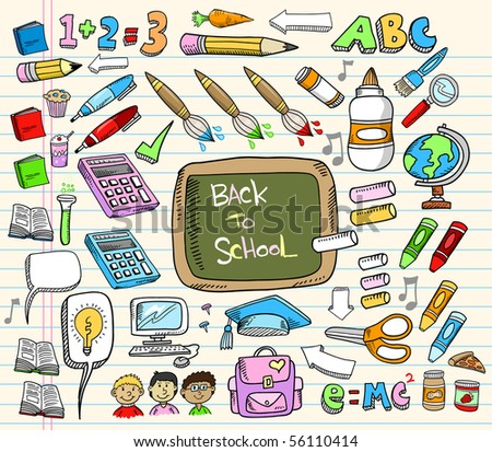 Back to School Doodle Education Vector Illustration Set
