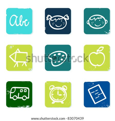 Back to school doodle icons set & elements isolated on white Vector hand drawn collection of school icons isolated on white.
