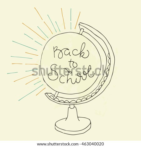 Back to school doodle illustration. Vector globe