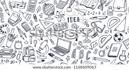 Back to school doodle seamless pattern. Hand drawn background with school supplies and creative elements. Vector illustration.