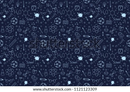 Back to school doodles background. Back to school seamless pattern. Hand drawn objects. Vector illustration.
