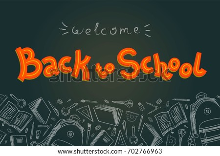 Back to school doodles in chalkboard background. Outline style. Back to school thin line vector doodle illustration template. Sketchy vector concepts with stationery for graphic design, web banner and