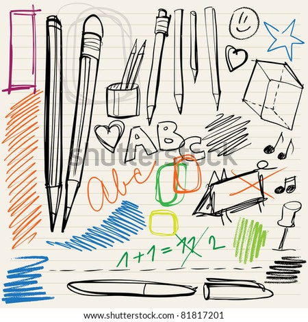 back to school doodles - pencils, pens and scribblings