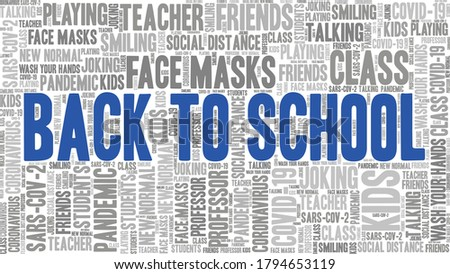 Back to school during Covid-19 pandemic word cloud isolated on a white background.