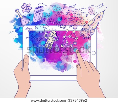 Back to School: e-learning technology concept with tablet  looking like ipadewith science lab objects sketchy composition, vector illustration isolated on white.  - stock vector