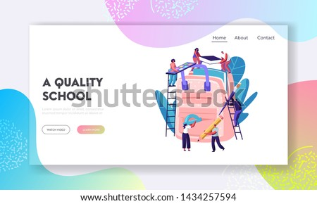 Back to School, Education Website Landing Page, Characters Put Accessories into Backpack. People Holding Pencil, Paints, Book, Brush, Straightedge, Web Page. Cartoon Flat Vector Illustration, Banner