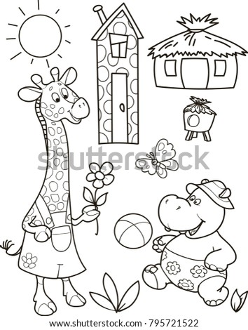 Back to school. Educational game for children with animals, cartoon colorful summer vector illustration. Help giraffe, hippo and butterfly to find their homes.